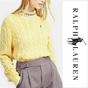Ralph Lauren Yellow Crest Cable Knit Sweater